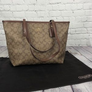 Brown leather monogram tote bag coach